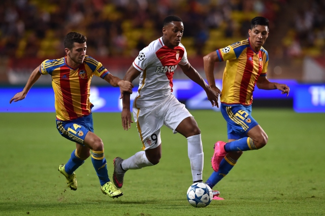 during the UEFA Champions Leaguequalifying round play off second leg match between Monaco and Valencia on August 25, 2015 in Monaco, Monaco.